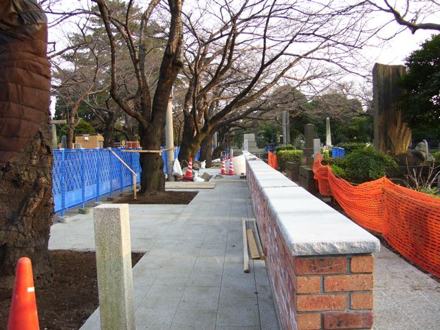 Aoyama cemetery, Foreign section, construction nearing completion